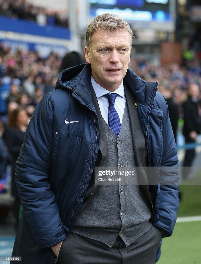 Everton Manager David Moyes looks prior to the Barclays Premier League match between Everton and Manchester City at Goodison Park on March 16, 2013 in Liverpool, England.