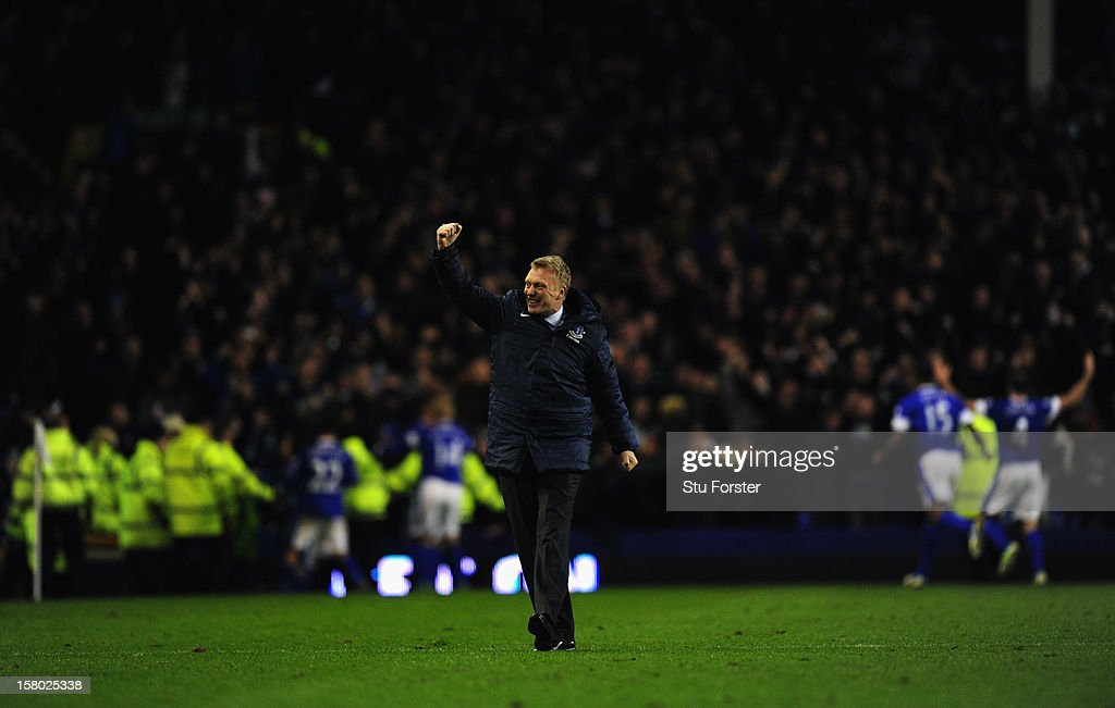 Everton manager David Moyes runs on the pitch to celebrate the winning goal during the Barclays Premier between Everton and Tottenham Hotspur at Goodison Park on December 9, 2012 in Liverpool, England.