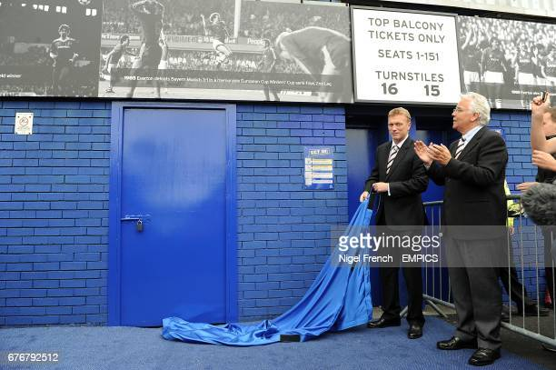 Everton manager David Moyes with chairman Bill Kenwright CBE after unveiling the lastest section of the Everton Timeline Everton's club history is...