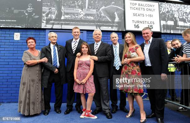 Everton manager David Moyes with chairman Bill Kenwright CBE and guests after unveiling the lastest section of the Everton Timeline Everton's club...