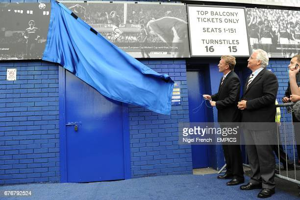 Everton manager David Moyes with chairman Bill Kenwright CBE unveiling the lastest section of the Everton Timeline Everton's club history is now told...