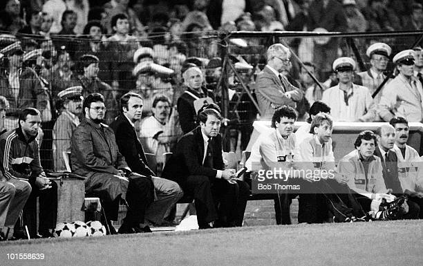 Everton manager Howard Kendall watches the Everton v Rapid Vienna European Cup Winners Cup Final played in Rotterdam on the 15th May 1985 Everton won...