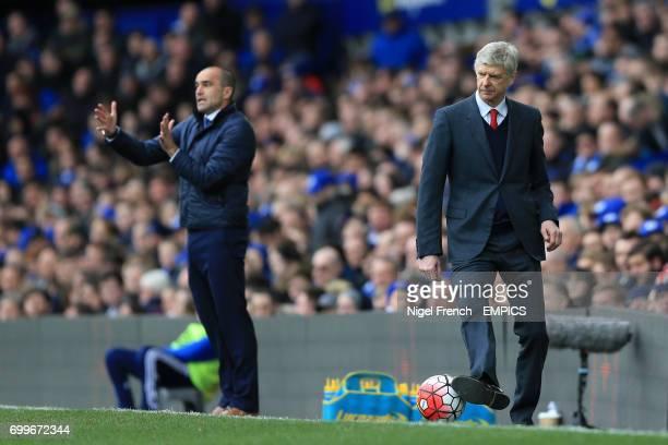Everton manager Roberto Martinez and Arsenal manager Arsene Wenger sad at the touchline