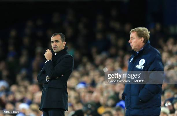 Everton manager Roberto Martinez and Queens Park Rangers manager Harry Redknapp on the touchline