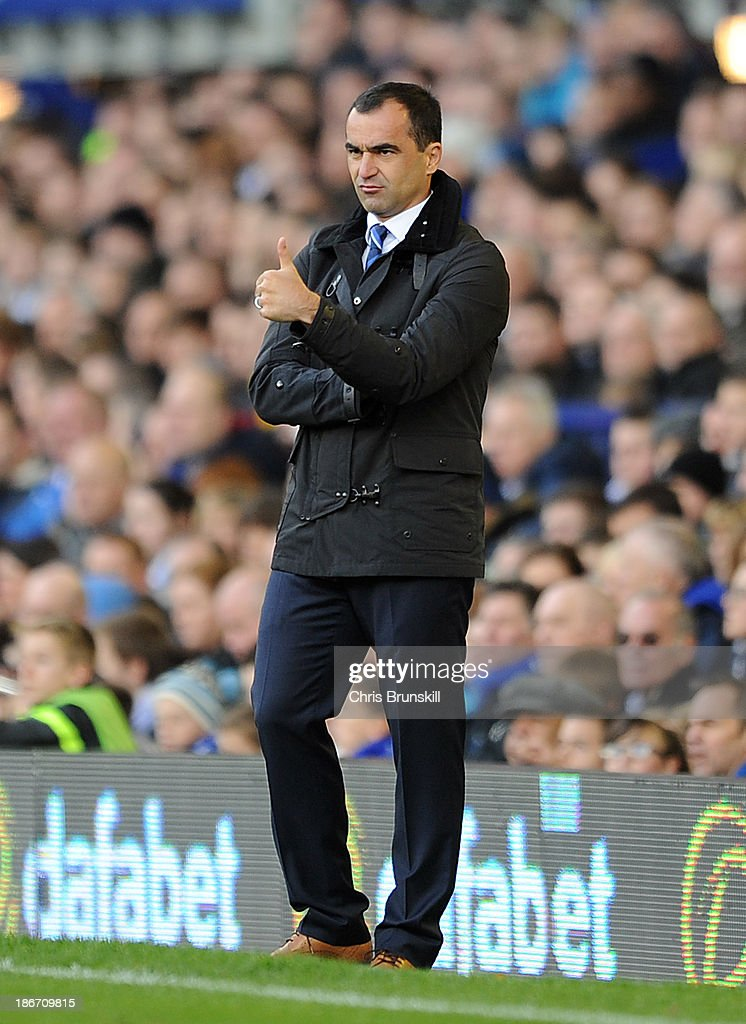 Everton manager Roberto Martinez gives the thumbs up during the Barclays Premier League match between Everton and Tottenham Hotspur at Goodison Park on November 03, 2013 in Liverpool, England.