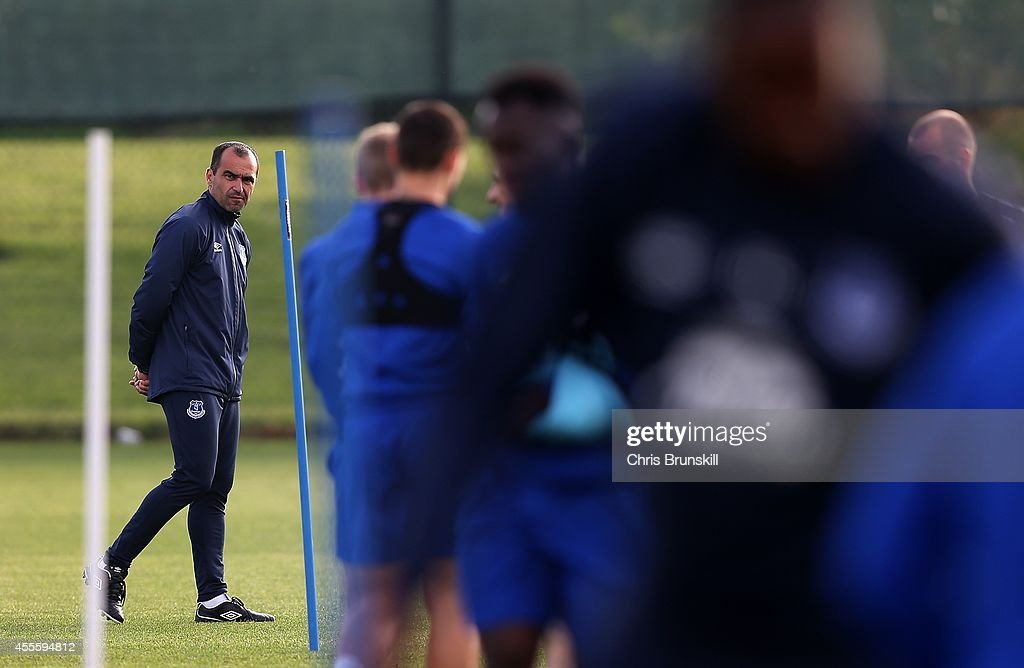 Everton manager Roberto Martinez looks on during a training session at Finch Farm on September 17, 2014 in Liverpool, England.
