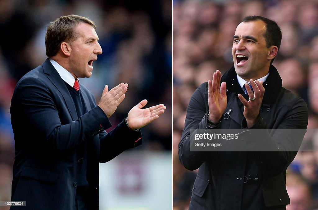 IMAGES - Image numbers (L) 483082145 and 483059175) In this composite image a comparision has been made between Roberto Martinez, manager of Everton FC (R) and <a gi-track='captionPersonalityLinkClicked' href=/galleries/search?phrase=Brendan+Rodgers+-+Soccer+Manager&family=editorial&specificpeople=5446684 ng-click='$event.stopPropagation()'>Brendan Rodgers</a>,manager of Liverpool. Everton and Liverpool meet in a Premier League match on February 7, 2015 at Goodison Park in Liverpool,England. LIVERPOOL, ENGLAND - APRIL 06: Everton Manager Roberto Martinez reacts during the Barclays Premier League match between Everton and Arsenal at Goodison Park on April 6, 2014 in Liverpool, England.