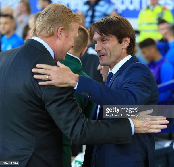 Everton manager Ronald Koeman and Hajduk Split manager Joan Carrillo during the UEFA Europa League PlayOff First Leg match at Goodison Park Liverpool