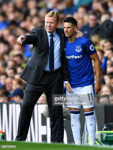 Everton manager Ronald Koeman and Kevin Mirallas during the Premier League match at Goodison Park Liverpool