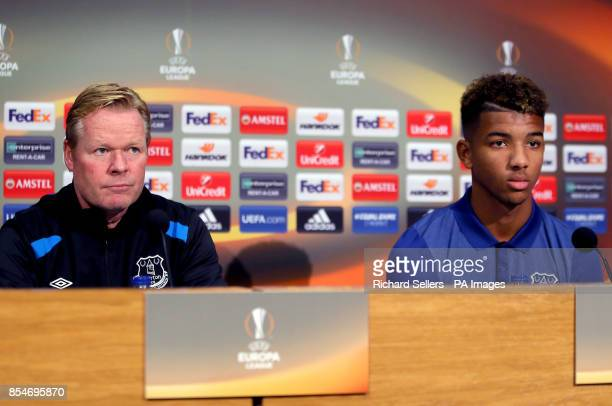Everton manager Ronald Koeman and Mason Holgate during the press conference at Finch Farm Liverpool