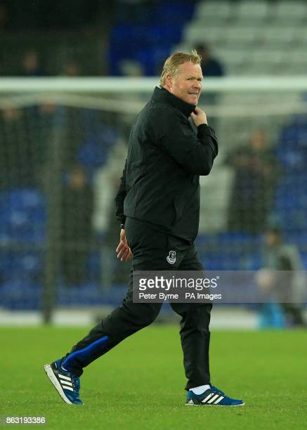Everton manager Ronald Koeman looks dejected after the final whistle during the UEFA Europa League Group E match at Goodison Park Liverpool
