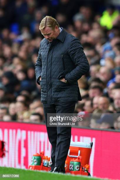 Everton manager Ronald Koeman looks dejected during the Premier League match between Everton and Arsenal at Goodison Park on October 22 2017 in...