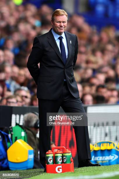 Everton manager Ronald Koeman looks on during the Premier League match between Everton and Stoke City at Goodison Park on August 12 2017 in Liverpool...
