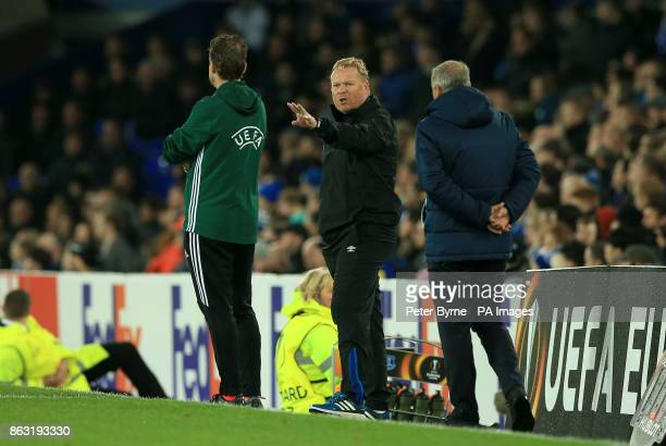 Everton manager Ronald Koeman speaks with the fourth official during the UEFA Europa League Group E match at Goodison Park Liverpool