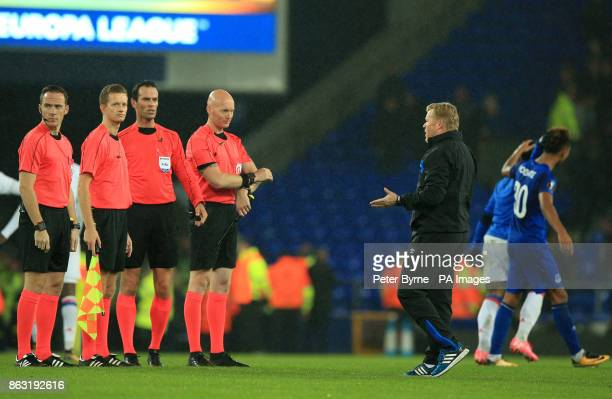 Everton manager Ronald Koeman speaks with the match officials after the final whistle during the UEFA Europa League Group E match at Goodison Park...