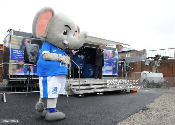 Everton mascot Changy outside the Everton roadshow before the game