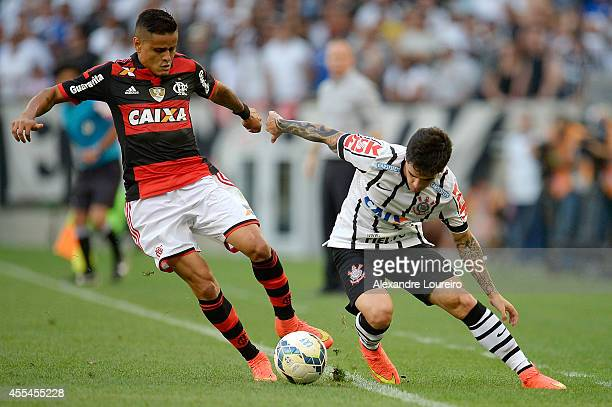 Everton of Flamengo battles for the ball with Fagner of Corinthians during the match between Flamengo and Corinthians as part of Brasileirao Series A...