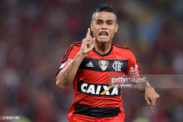 Everton of Flamengo celebrates a scored goal against Bolivar during a match between Flamengo and Bolivar as part of Copa Bridgestone Libertadores...