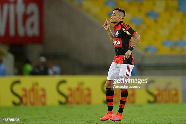 Everton of Flamengo celebrates a scored goal during the match between Flamengo and Sport Recife as part of Brasileirao Series A 2015 at Maracana...