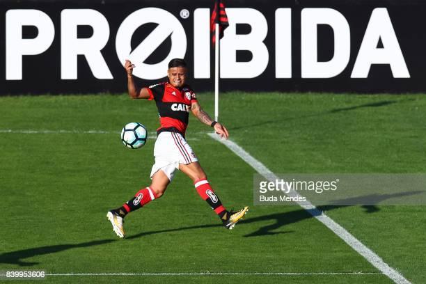 Everton of Flamengo kicks the ball during a match between Flamengo and Atletico PR as part of Brasileirao Series A 2017 at Ilha do Urubu Stadium on...