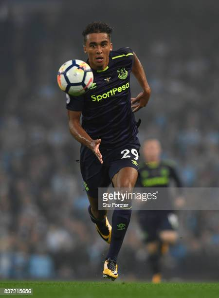 Everton player Dominic CalvertLewin in action during the Premier League match between Manchester City and Everton at Etihad Stadium on August 21 2017...