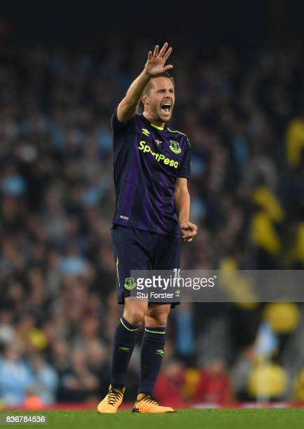 Everton player Gylfi Sigurdsson reacts during the Premier League match between Manchester City and Everton at Etihad Stadium on August 21 2017 in...