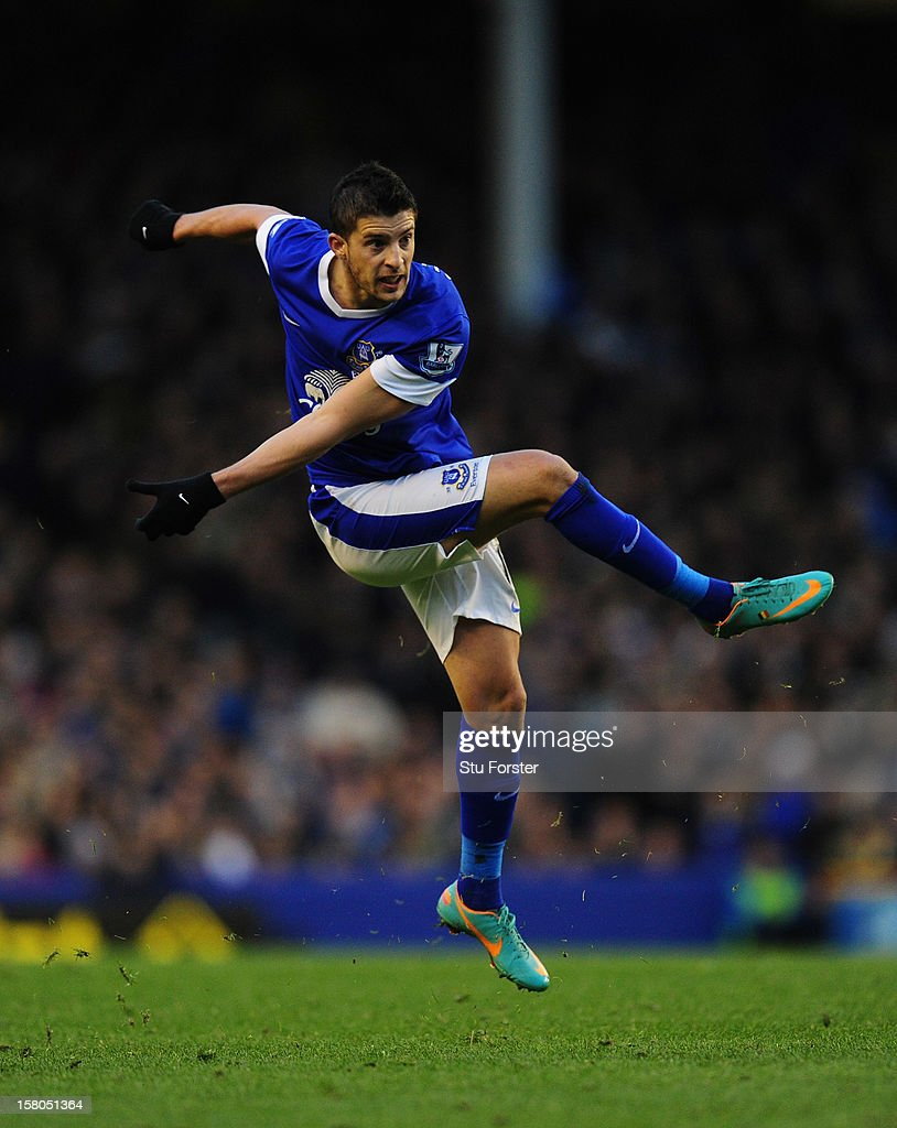Everton player Kevin Mirallas in action during the Barclays Premier game between Everton and Tottenham Hotspur at Goodison Park on December 9, 2012 in Liverpool, England.