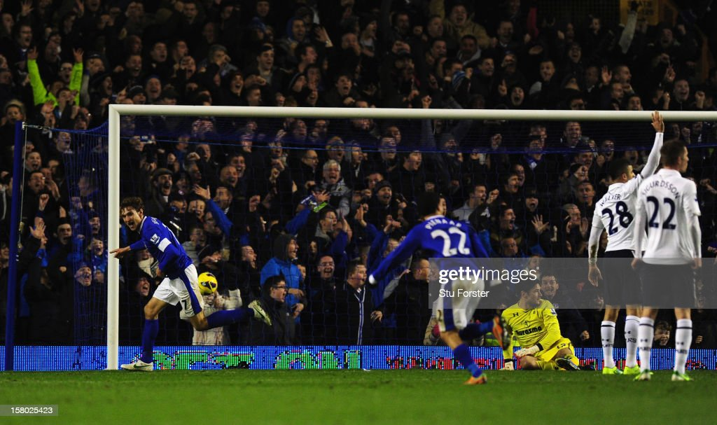 Everton player <a gi-track='captionPersonalityLinkClicked' href=/galleries/search?phrase=Nikica+Jelavic&family=editorial&specificpeople=5986831 ng-click='$event.stopPropagation()'>Nikica Jelavic</a> (l) celebrates the winning goal during the Barclays Premier League match between Everton and Tottenham Hotspur at Goodison Park on December 9, 2012 in Liverpool, England.