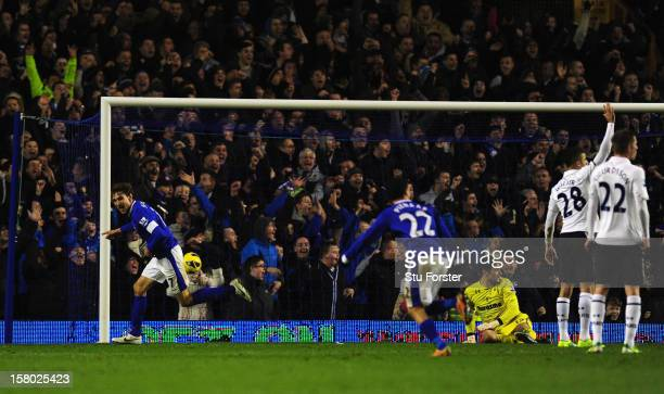 Everton player Nikica Jelavic celebrates the winning goal during the Barclays Premier League match between Everton and Tottenham Hotspur at Goodison...