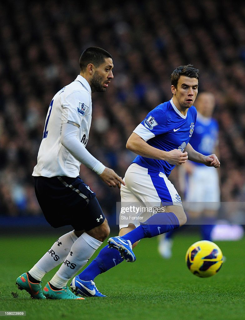 Everton player Seamus Coleman (r) challenges Clint Dempsey during the Barclays Premier between Everton and Tottenham Hotspur at Goodison Park on December 9, 2012 in Liverpool, England.