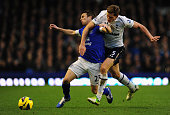 Everton player Seamus Coleman is brought down by Spurs player Jan Vertonghen during the Barclays Premier between Everton and Tottenham Hotspur at...