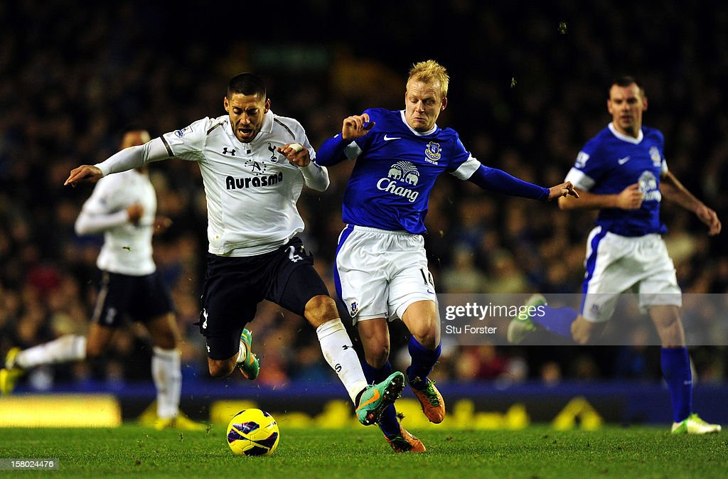 Everton player Steven Naismith (r) fouls Spurs player Clint Dempsey during the Barclays Premier between Everton and Tottenham Hotspur at Goodison Park on December 9, 2012 in Liverpool, England.