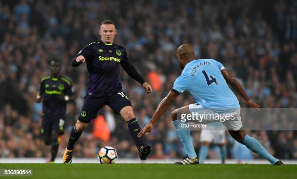 Everton player Wayne Rooney in action during the Premier League match between Manchester City and Everton at Etihad Stadium on August 21 2017 in...