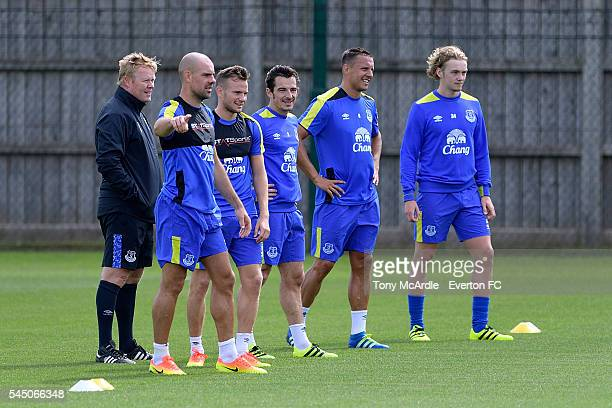 Everton players at Ronald Koeman's first training session as Everton manager at Finch Farm on July 5 2016 in Halewood England