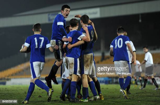 Everton players celebrates Matthew Pennington's goal during the FA Youth cup match at Vale Park Stoke on Trent PRESS ASSOCIATION Photo Picture date...
