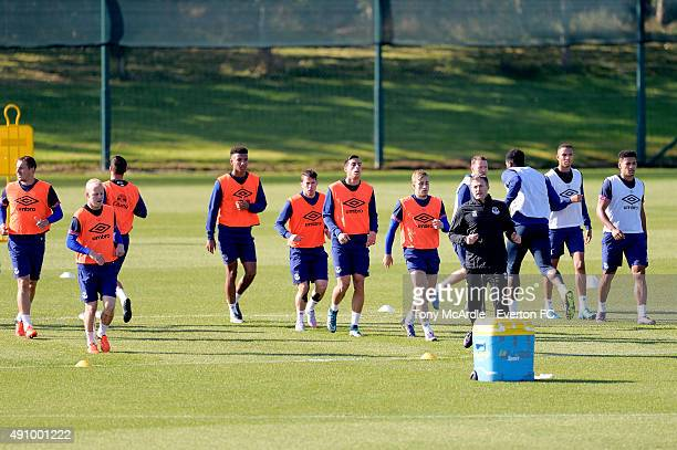 Everton players during the Everton training session at Finch Farm on October 2 2015 in Halewood England