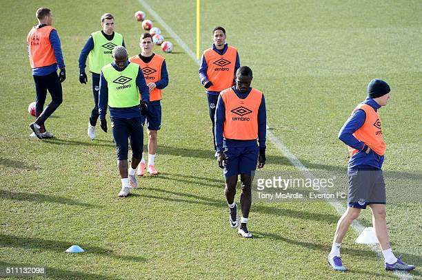 Everton players during the Everton training session at Finch Farm on February 18 2016 in Halewood England