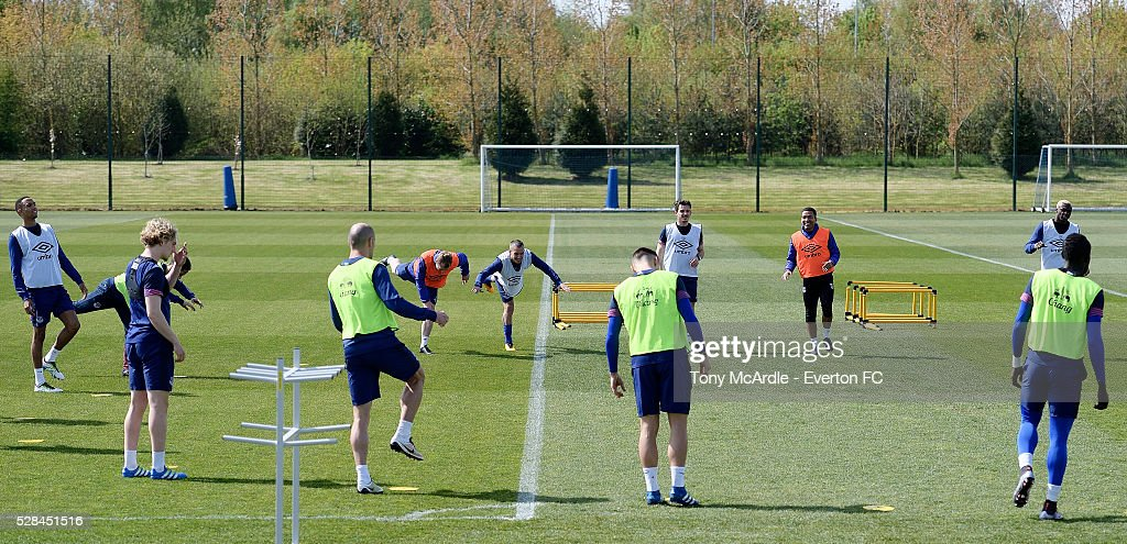 Everton players during the Everton training session at Finch Farm on May 5, 2016 in Halewood, England.