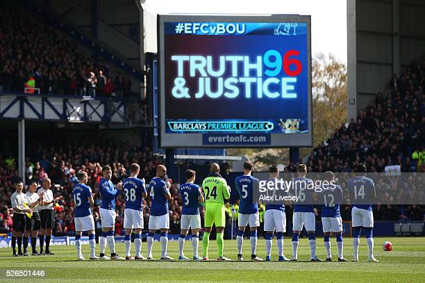 Everton Players observe a minute of silence for the victims of the Hillsborough disaster prior to the Barclays Premier League match between Everton...