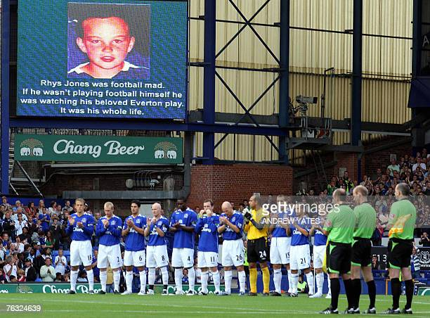 Everton players pay their respects to murdered school boy Rhys Jones before kick off against Blackburn Rovers during the Premier league football...