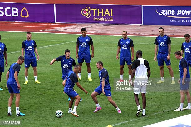 Everton players training before their preseason friendly match with Leicester city on 27 July 2014 at Supachalasai stadium in Bangkok The friendly...
