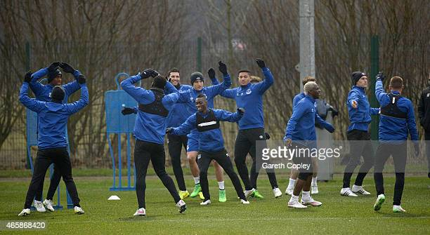 Everton players warm up during a training session at Finch Farm on March 11 2015 in Halewood England