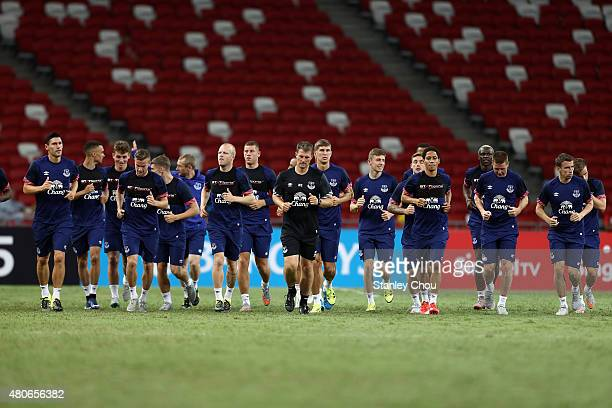Everton players warm up during an open training session ahead of the match between Everton and Stoke City during the 2015 Barclays Asia Trophy...