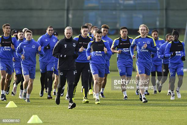 Everton players warm up during the Everton FC training session at Finch Farm on December 16 2016 in Halewood England