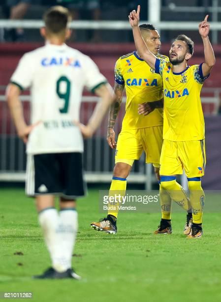 Everton Ribeiro of Flamengo celebrates a scored goal during a match between Flamengo and Coritiba as part of Brasileirao Series A 2017 at Ilha do...