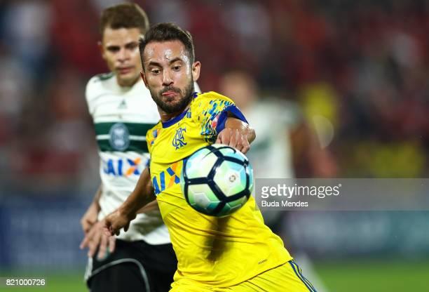 Everton Ribeiro of Flamengo struggles for the ball with Jonas of Coritiba during a match between Flamengo and Coritiba as part of Brasileirao Series...