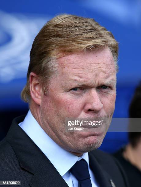 Everton Ronald Koeman looks on during the Premier League match between Everton and Stoke City at Goodison Park on August 12 2017 in Liverpool England