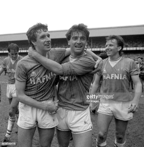Everton skipper Kevin Ratcliffe with teammates Kevin Sheedy and Gary Stevens after their team clinched the League Championship with a 20 victory over...
