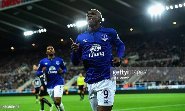Everton striker Arouna Kone celebrates after scoring the first goal during the Barclays Premier League match between Newcastle United and Everton at...