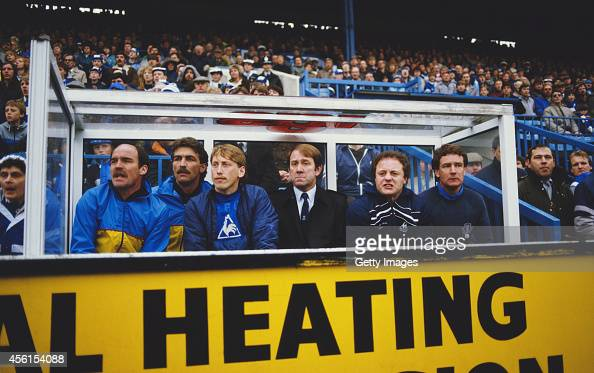Everton substitute Alan Harper manager Howard Kendall and assistant Colin Harvey look on during a 10 Everton victory against Sheffield Wednesday in a...